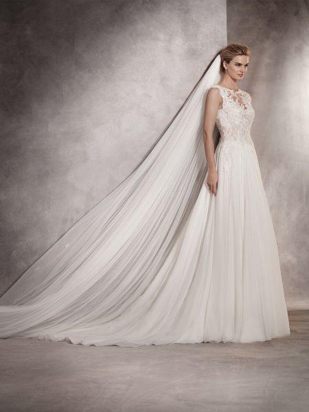Couture Sheath Wedding Dress by Pronovias - Image 1