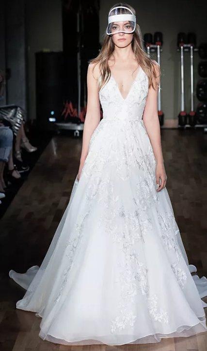 V Neck Sleeveless Lace Detailed Ballgown Wedding Dress Kleinfeld Bridal