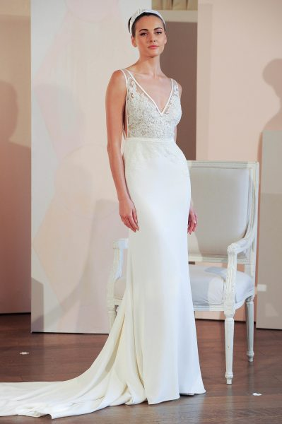 V-neck Sleeveless Natural Waist Sheath Wedding Dress by Anne Barge - Image 1