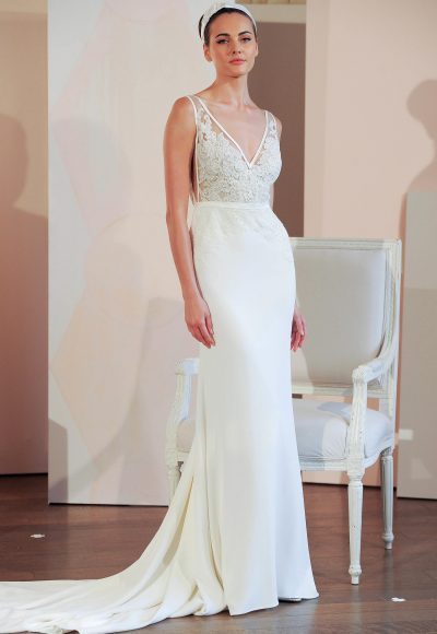 V-neck Sleeveless Natural Waist Sheath Wedding Dress by Anne Barge
