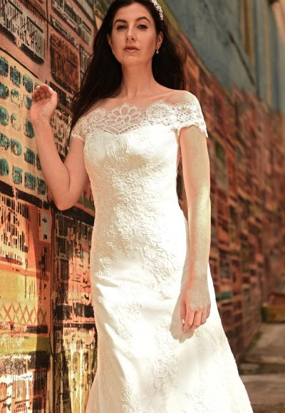 Illusion Sweetheart Neck Off The Shoulder Lace Wedding Dress by Augusta Jones