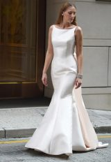 Open Back Boatneck Sleeveless Wedding Dress by Augusta Jones - Image 1