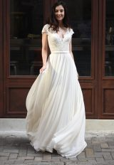 Scalloped V-neck Lace A-line Wedding Dress by Augusta Jones - Image 1