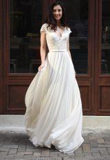 Scalloped V-neck Lace A-line Wedding Dress by Augusta Jones - Image 1