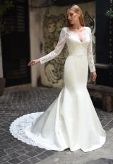 Scalloped V-neck Long Sleeve Lace Wedding Dress by Augusta Jones - Image 1