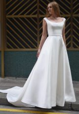Scoopneck Sleeveless A-line Natural Waist Wedding Dress by Augusta Jones - Image 1