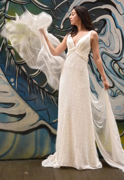 Sequin V-neck Empire Waist Sheath Wedding Dress by Augusta Jones