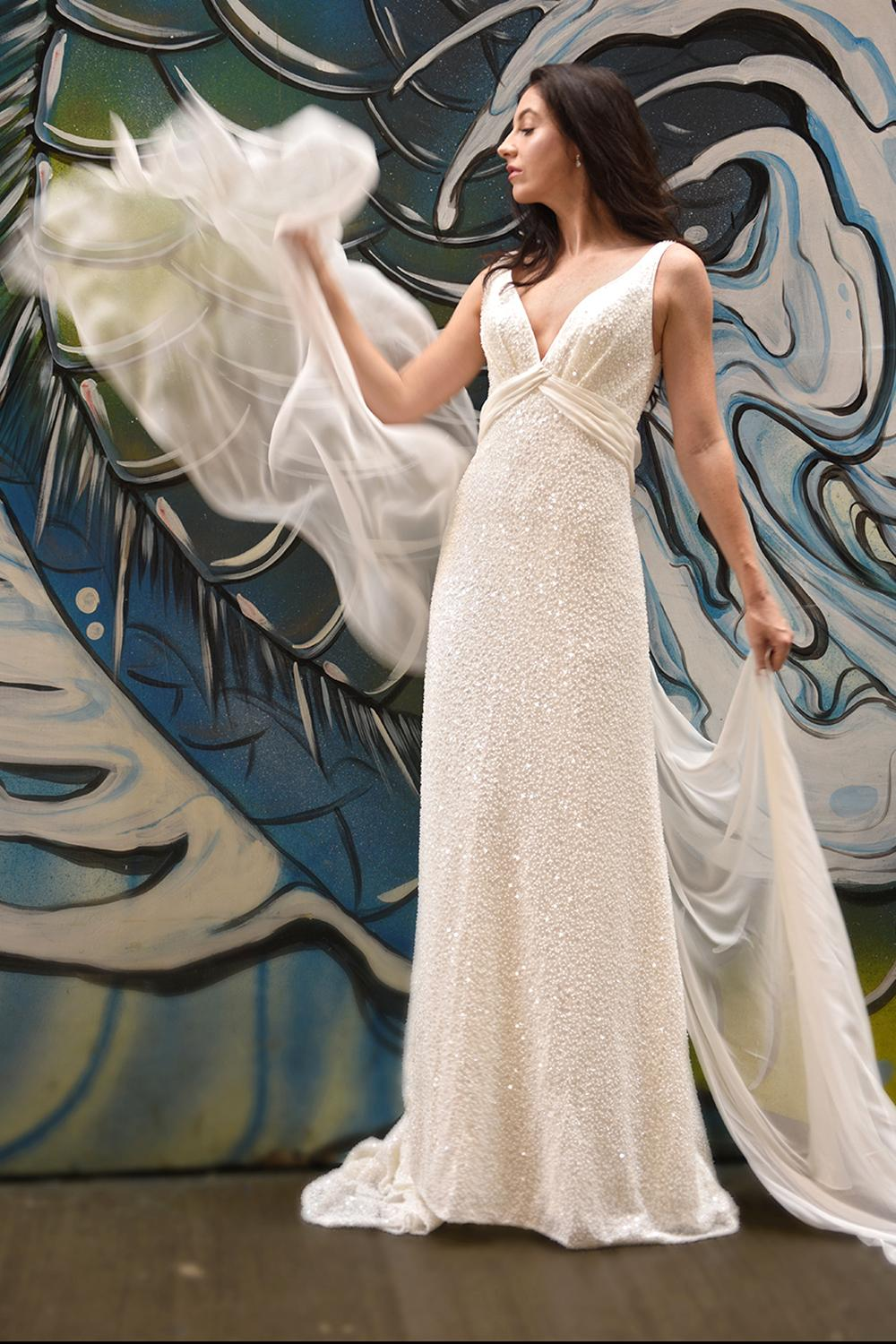 Sequin V-neck Empire Waist Sheath Wedding Dress | Kleinfeld Bridal