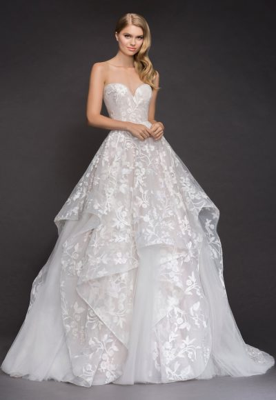 Strapless V-neck Embroidered Tulle Ballgown Wedding Dress by BLUSH by Hayley Paige