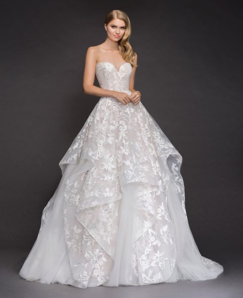 Strapless V-neck Embroidered Tulle Ballgown Wedding Dress ...