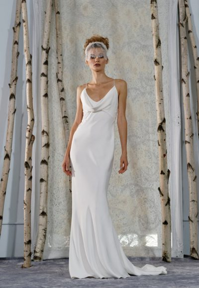 Draped Cowl Neckline Sleeveless Sheath Wedding Dress by Elizabeth Fillmore
