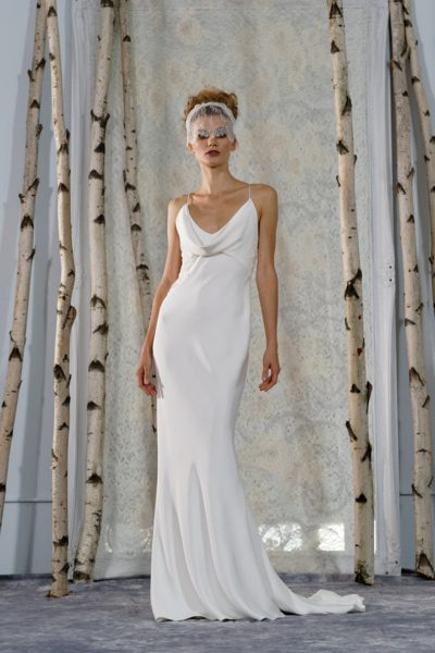 Draped Cowl Neckline Sleeveless Sheath Wedding Dress by Elizabeth Fillmore - Image 1