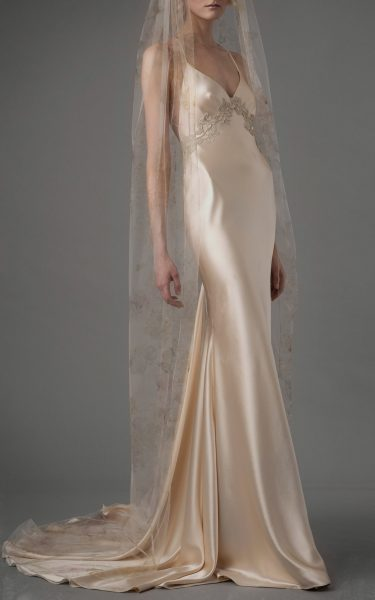 V-neck Sleeveless Silk Empire Waist Sheath Wedding Dress by Elizabeth Fillmore - Image 1
