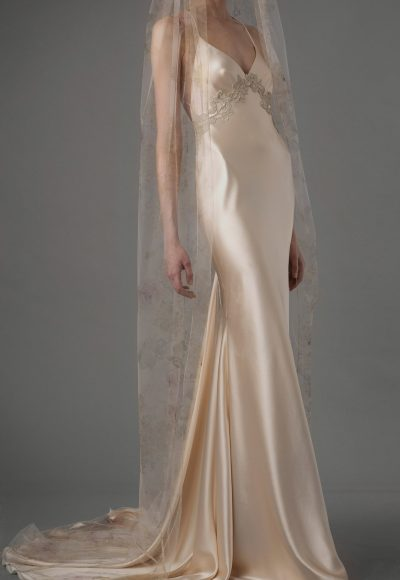 V-neck Sleeveless Silk Empire Waist Sheath Wedding Dress by Elizabeth Fillmore