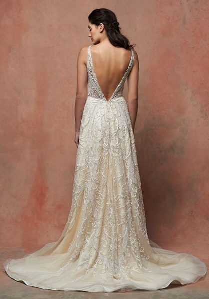 Romantic Lace V-neck Sleeveless Wedding Dress by Enaura Bridal - Image 2