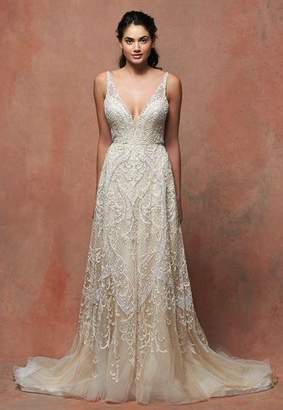 Romantic Lace V-neck Sleeveless Wedding Dress by Enaura Bridal
