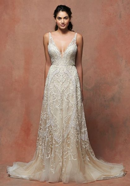 romantic wedding dresses lace v neck sleeveless wedding dress kleinfeld 7107