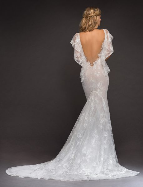 Open Back Flutter Sleeve Lace Wedding Dress By Hayley Paige Image 2