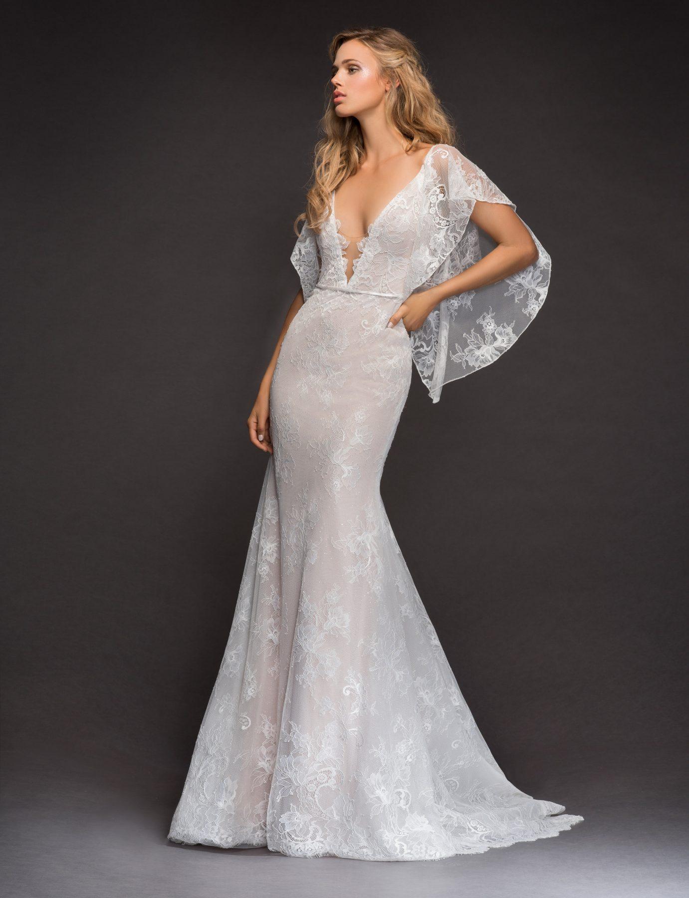 Open Back Flutter Sleeve Lace Wedding Dress | Kleinfeld Bridal