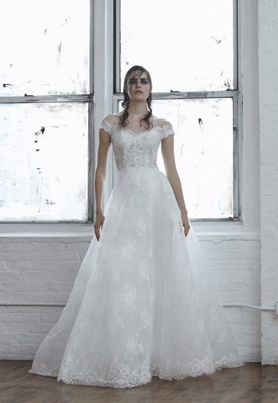 Off-the-shoulder Chantilly Lace A-line Wedding Dress by Isabelle Armstrong