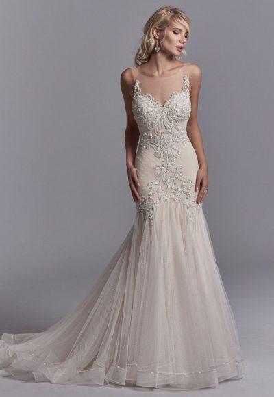 Illuision sweetheart cap sleeve beaded fit and flare for Fit and flare wedding dress with sweetheart neckline