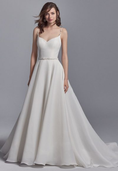 Elegant Sweetheart Organza Sleeveless A-line Wedding Dress by Maggie Sottero