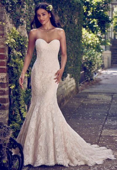 Full Lace Strapless Sweetheart Fit And Flare Wedding Dress by Maggie Sottero