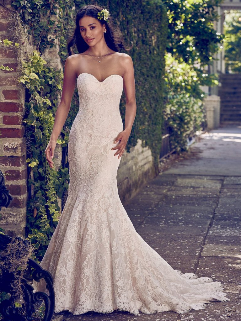 Full Lace Strapless Sweetheart Fit And Flare Wedding Dress ...