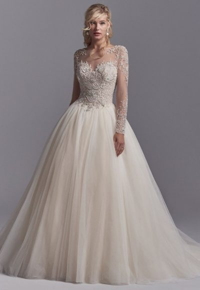 Illusion Sweetheart Neck Long Sleeve Lace Applique Wedding Dress by Sottero and Midgley