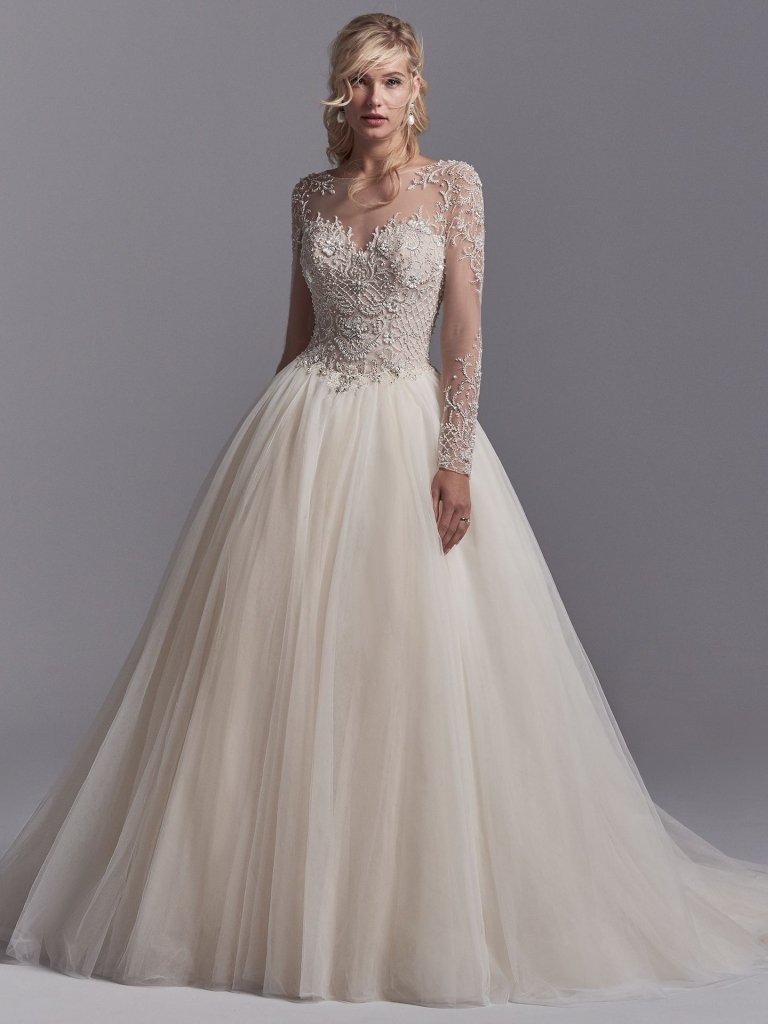 Illusion sweetheart neck long sleeve lace applique wedding for Long sleeve wedding dress for sale