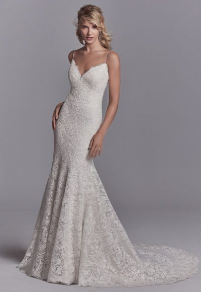 Sexy Back All Lace Sleeveless Wedding Dress by Maggie Sottero