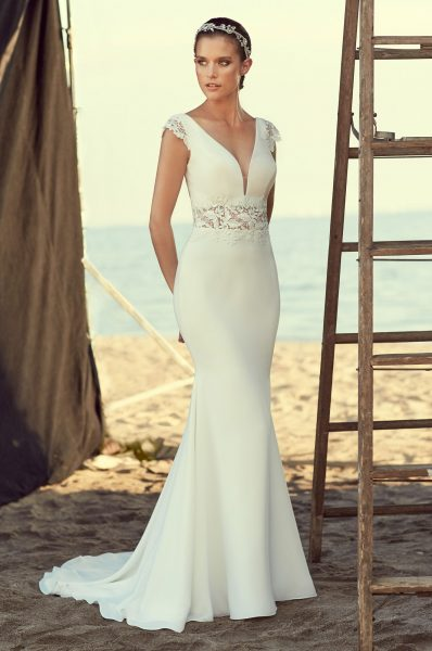 f74f0655 V-neck Cap Sleeve Lace And Crepe Fit And Flare Wedding Dress by Mikaella -