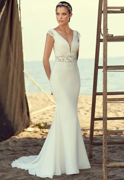 V-neck Cap Sleeve Lace And Crepe Fit And Flare Wedding Dress by Mikaella