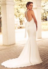 Boatneck Racerback Organza Fit And Flare Wedding Dress by Paloma Blanca - Image 2