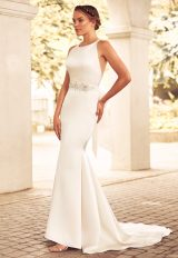 Boatneck Racerback Organza Fit And Flare Wedding Dress by Paloma Blanca - Image 1