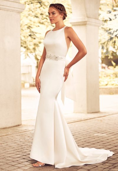 Boatneck Racerback Organza Fit And Flare Wedding Dress by Paloma Blanca