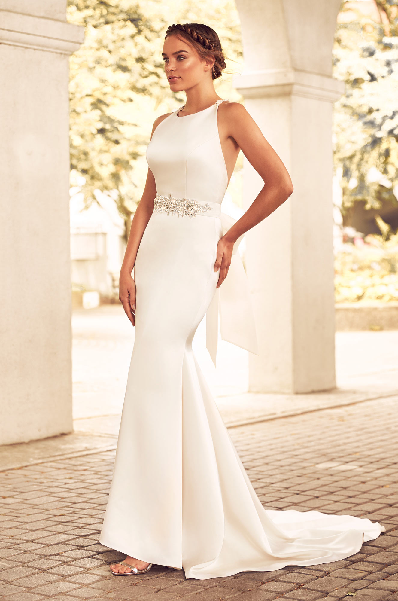 Boatneck Racerback Organza Fit And Flare Wedding Dress | Kleinfeld ...