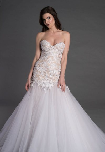 Strapless Sweetheart Lace And Tulle Mermaid Wedding Dress by Pnina Tornai