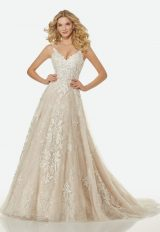 Lace And Applique Illusion A-line Wedding Dress by Randy Fenoli - Image 1