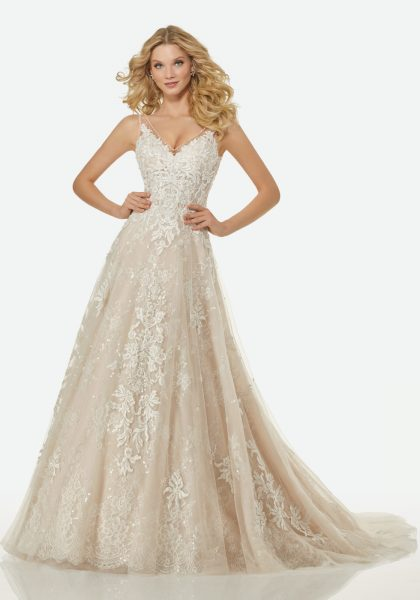Lace And Lique Illusion A Line Wedding Dress By Randy Fenoli Image 1