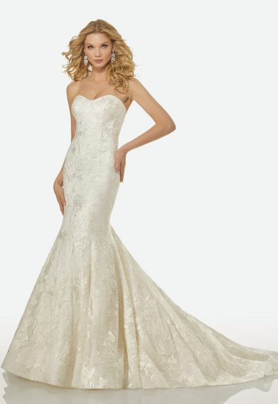 Strapless Sweetheart Beaded Lace Mermaid Wedding Dress by Randy Fenoli