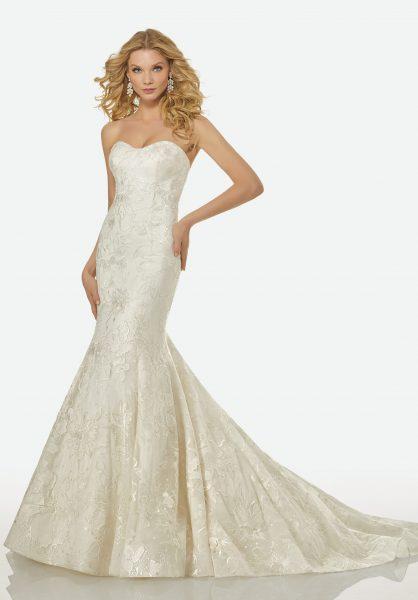 Strapless Sweetheart Beaded Lace Mermaid Wedding Dress by Randy Fenoli - Image 1