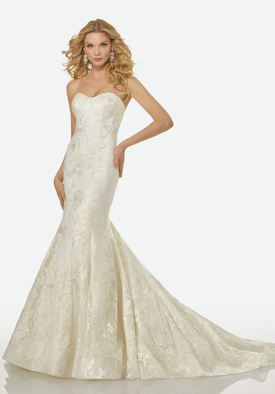 Strapless Sweetheart Beaded Lace Mermaid Wedding Dress | Kleinfeld ...