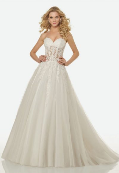 Strapless Sweetheart Sheer Bodice A-line Wedding Dress by Randy Fenoli