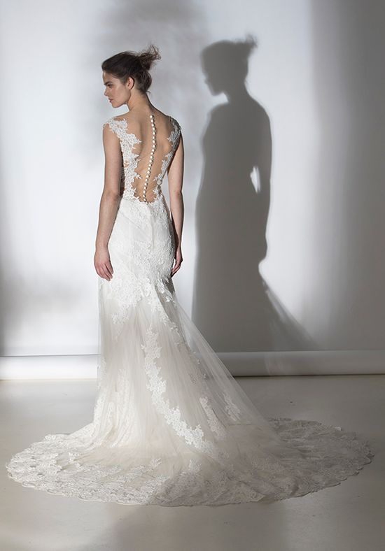 Romantic Lace V-neck Sheath Wedding Dress | Kleinfeld Bridal