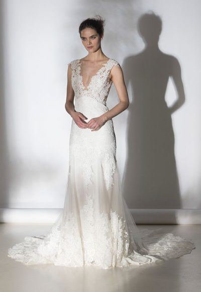 Romantic Lace V-neck Sheath Wedding Dress by Rivini