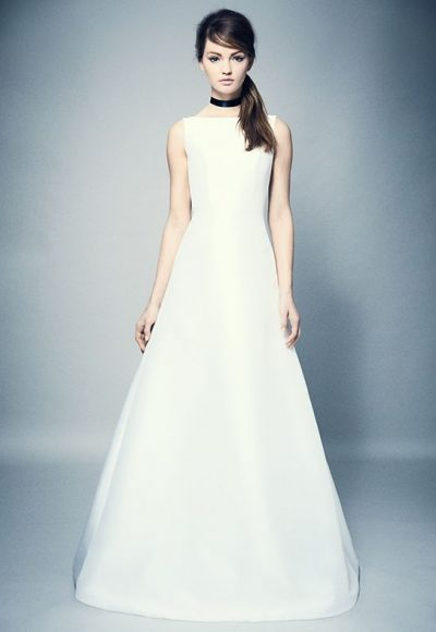 Simple Bateau Neck A-line Wedding Dress by Romona Keveza