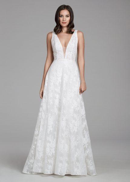 Romantic Lace V-neck A-line Dress by Tara Keely - Image 1