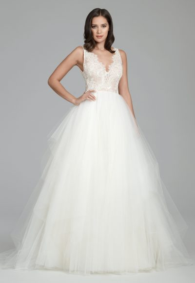 Scalloped V-neck Sleeveless Natural Waist Ballgown Wedding Dress by Tara Keely