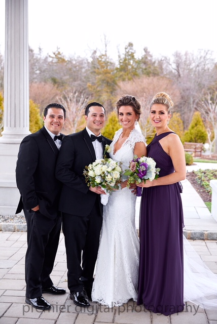 Alexandra and Gerard Tingos with best man and maid of honor